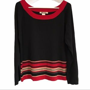 Black Nygard sweater with red and tan stripes 14